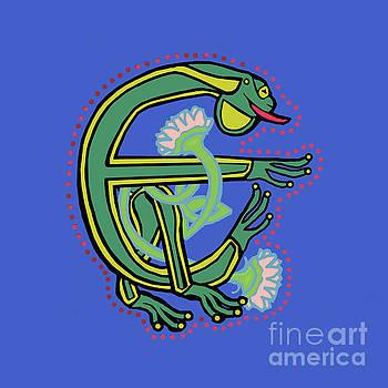 Medieval Frog Letter E by Donna Huntriss