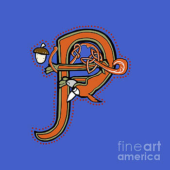 Medieval Squirrel Letter P by Donna Huntriss