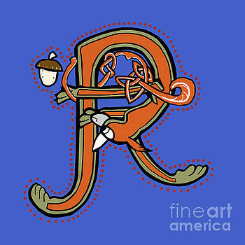 Medieval Squirrel Letter R by Donna Huntriss