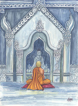 Meditated Buddhist Monk by Aung Min Min
