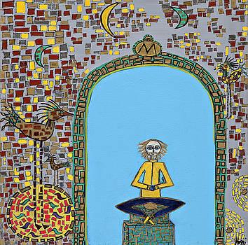 Meditating Master on Altar by Maggis Art