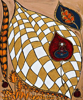 Meditating Master on  Checkered Leaf by Maggis Art