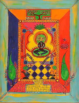 Meditating Master Stting Under Lotus by Maggis Art
