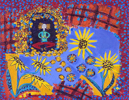 Meditating Master with Sunflowers by Maggis Art