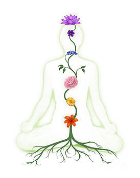 Meditating Woman with Chakras Shown as Flowers by Oleksiy Maksymenko