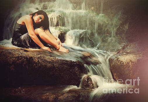 Meditation by the Waterfall by Iris Greenwell