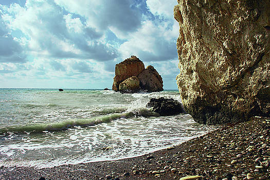 Mediterranean sea, pebbles, large stones, sea foam - the legendary birthplace of Aphrodite by George Westermak