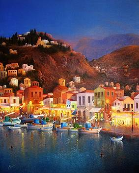Symi Harbour Lights by Ray Gilronan