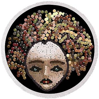Medusa Bedazzled Round Beach Towel by R  Allen Swezey