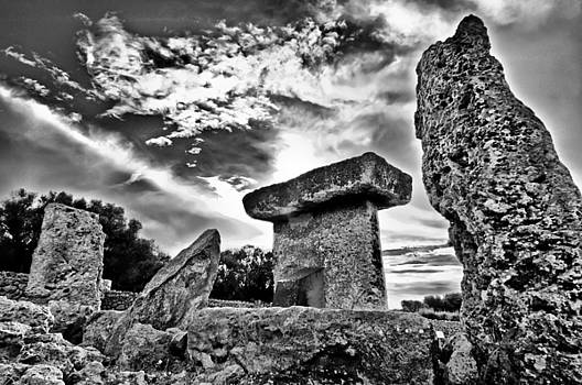 Pedro Cardona Llambias - Megalithic building Taula in Trepuco Menorca Bronze age black and white version