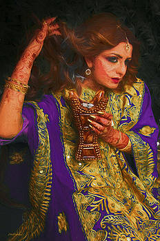 Mehndi Lady with Henna - Painting by Ericamaxine Price