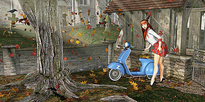 Melanie Rode Her Vespa To Vespers by Peter J Sucy