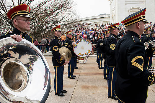 Members of the army band participate in a honours wreath laying at Tomb of the Unknown Soldier by Paul Fearn