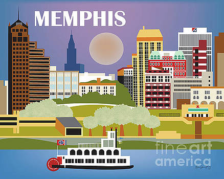 Memphis Tennessee Horizontal Skyline by Karen Young