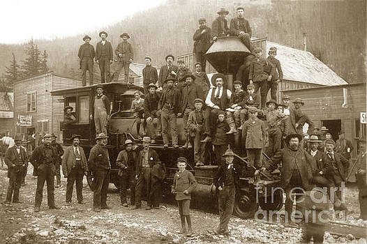 California Views Mr Pat Hathaway Archives - Men and boys gathered on and around a train steam locomotive H.