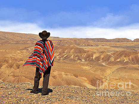 Man in a poncho in the desert by Nika Lerman