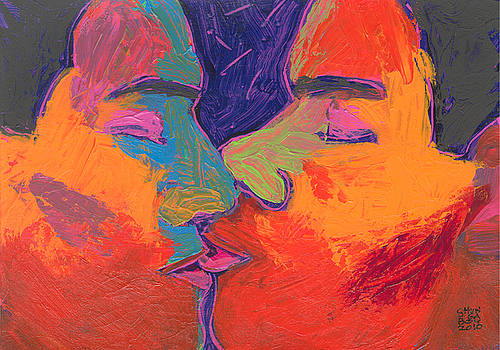 Men Kissing Colorful 2 by Shungaboy X