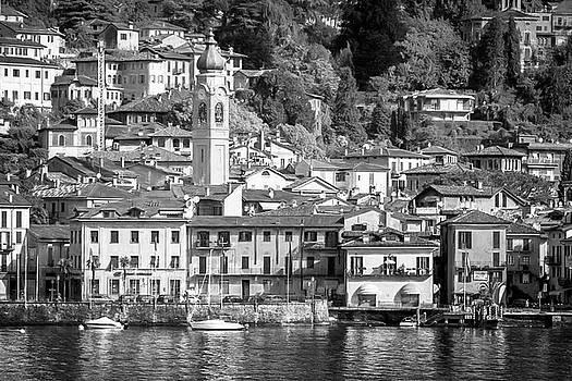 Menaggio Lake Como Italy Painterly BW by Joan Carroll