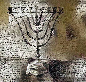 Menorah and Script by Nina Silver