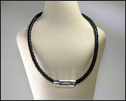 Mens Bolo Braided Black Leather Silver NecklaceEngraved Scroll men dude guy man rustic rugged tough  by Nadina Giurgiu