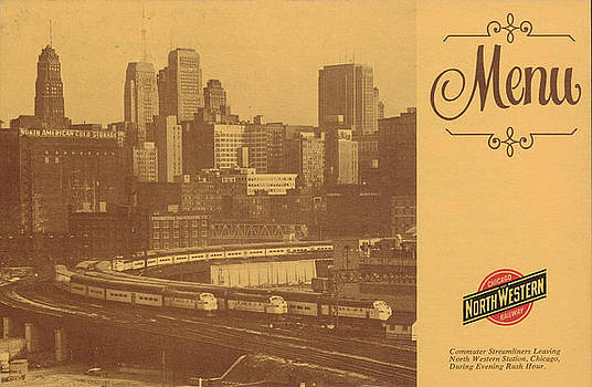 Chicago and North Western Historical Society - Menu With Chicago Skyline From Scholarship Celebration - 1971