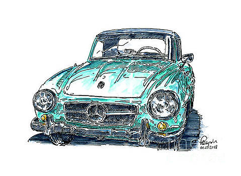 Frank Ramspott - Mercedes-Benz 190 SL Classic Car Ink Drawing and Watercolor