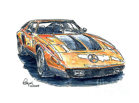 Frank Ramspott - Mercedes-Benz C 111 Classic Car Ink Drawing and Watercolor