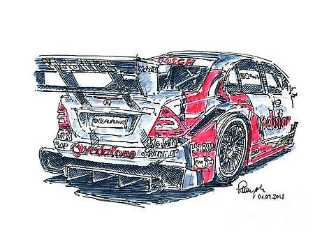 Frank Ramspott - Mercedes-Benz DTM C-Klasse Racecar Ink Drawing and Watercolor