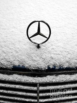 Mercedes Hood Ornament And The White Snow  by Erika H