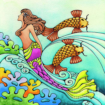 Mermaid and Koi Hawaii Art by Holly Kitaura