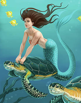 Mermaid and Sea Turtles by Dream Pigment