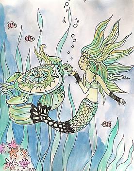 Bonnie Kelso - Mermaid Befriends A Turtle