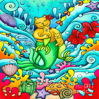 Mermaid Cat and Baby Kitten  by Holly Kitaura