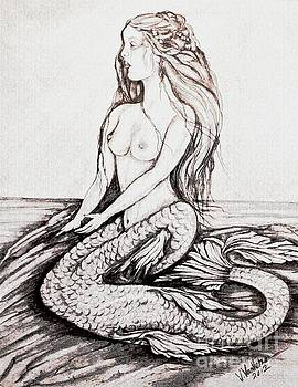 Mermaid Drawing by Valarie Pacheco