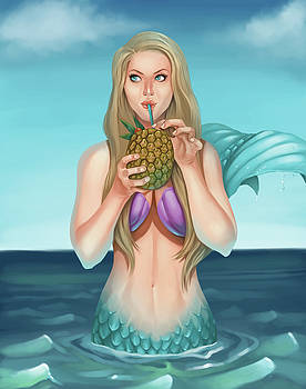 Mermaid Drinking a Pineapple Cocktail by Dream Pigment
