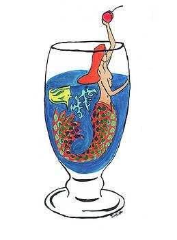 Mermaid in Cocktail 2 by MJ Cincotta