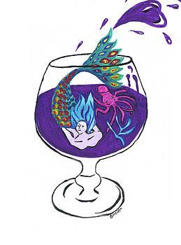 Mermaid in Cocktail 3 by MJ Cincotta