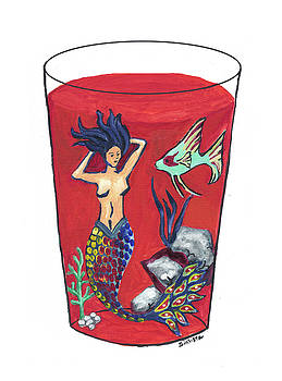 Mermaid in Cocktail 1 by MJ Cincotta