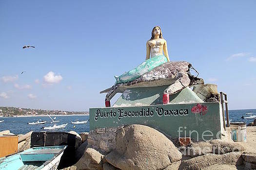 Mermaid Statue Puerto Escondido Oaxaca Mexico by Linda Queally
