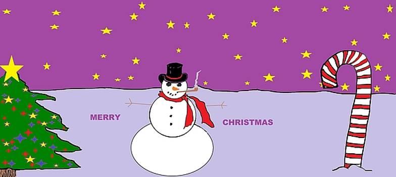 Merry Christmas Colorful Snowman by Linda Velasquez