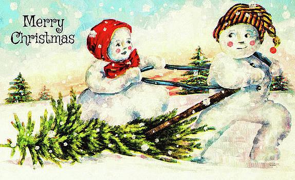 Merry Christmas Snow Couple by Tina LeCour