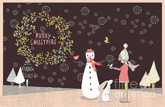 Merry Christmas Snowman Girl and Rabbit by Pam  Holdsworth