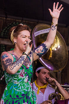 Meschiya Lake performing on the Fais Do-Do stage at the 2014 New Orleans Jazz Fest by Terry Finegan