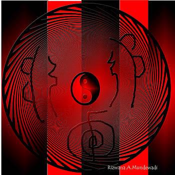 Mesmerizing Black Red Yin Yang by Rizwana Mundewadi