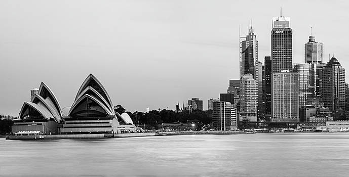 Mesmerizing Sydney Harbour Skyline in black and white by Daniela Constantinescu