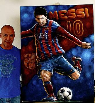Messi Original Painting For Sale 48x 36 inches  by Sports Art World Wide John Prince