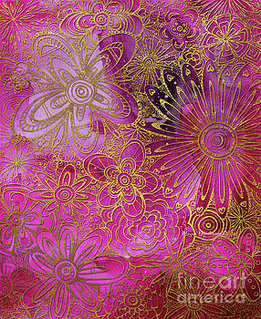 Metallic Gold and Pink Floral Pattern Design Golden Explosion by Megan Duncanson by Megan Duncanson
