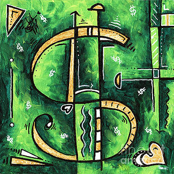 Metallic Gold Dollar Sign For the Love of Money Mini PoP Art Painting MADART by Megan Duncanson