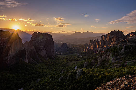 Meteora Sunset by Nikos Stavrakas