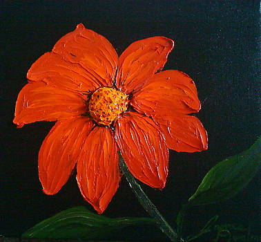 Mexican Red Orange Sunflower 1 by Portland Art Creations